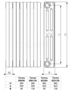 Чугунный радиатор Viadrus Termo 623/095. Фото 2