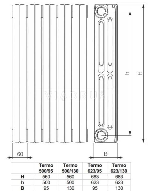 Чавунний радіатор Viadrus Termo 623/130. Фото 2